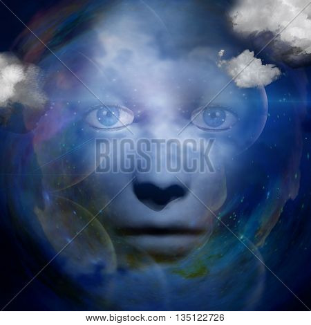human face with space background 3D Render