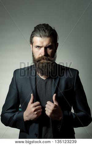 Bearded Handsome Man In Jacket