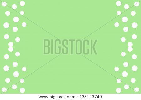 White points as side frame on a green background