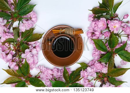 Cup Of Coffee In Flowers