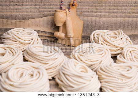 Homemade Tagliatelle And Culinary Utensils