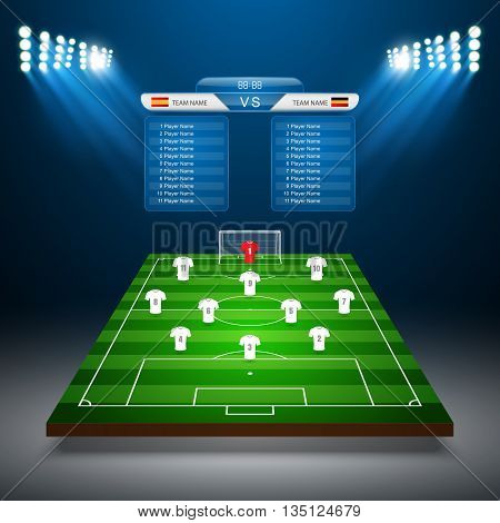 Soccer field with scoreboard, Soccer template, Vector