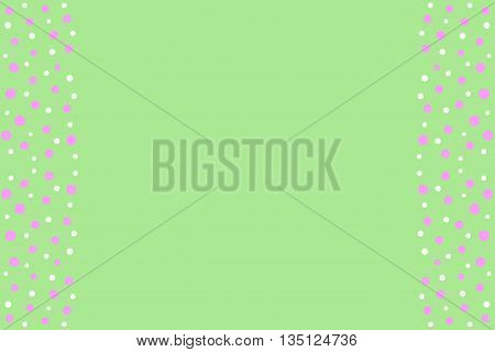 Pink and white points as side frame on a green background