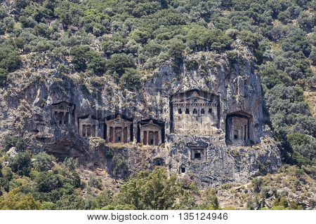 Turkey a beautiful view of the rock tombs in Dalyan.