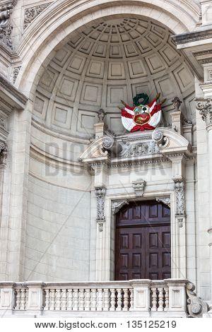 door with the coat of arms of Peru