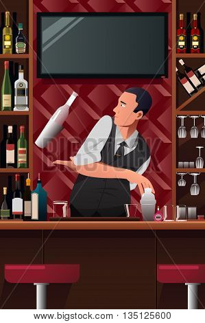 A vector illustration of acrobatic bartender in action