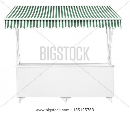 White market stall with green striped awning