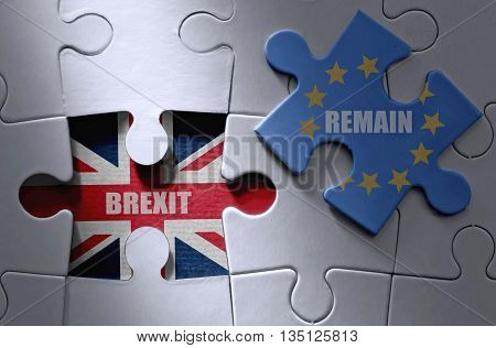Brexit UK flag with remain jigsaw piece