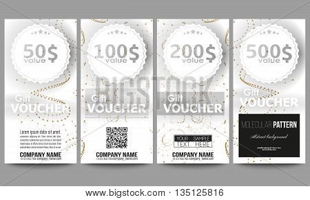 Set of modern gift voucher templates. Abstract polygonal low poly backdrop with connecting dots and lines, golden connection structure on white background. Digital or science vector.