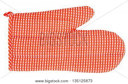 Oven glove orange white plaid