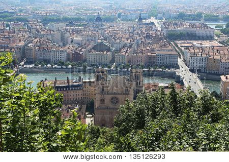 LYON, FRANCE - MAY 24, 2015: This is aerial view of the downtown of Lyon between the rivers Rhone and Sauna.