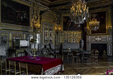 FONTAINBLEAU, FRANCE - MAY 16, 2015: This is the interior of one of the halls of the times of the Emperor Napoleon III.