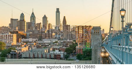 PHILADELPHIA, PA - JUNE 12, 2016: Philadelphia Skyline at Sunset from the Benjamin Franklin Bridge