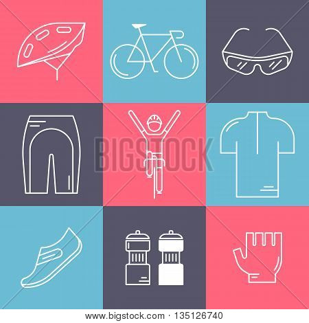 Set of 9 Bicycle Race modern linear icons. White outline templates of cycling in isolated on colorful background. Bicycling elements and accessories made in trendy thin line style vector.