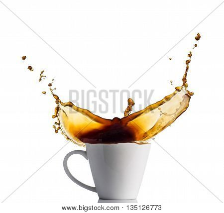 cup of splashing coffee isolated on white.