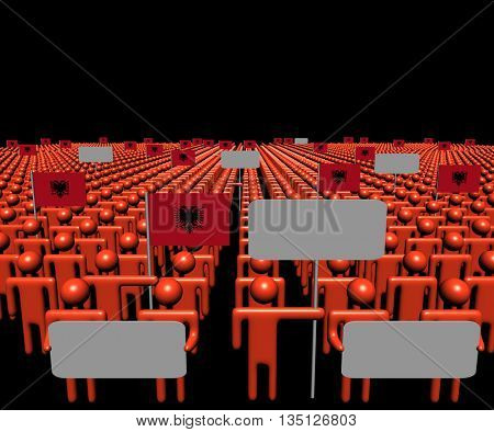 Crowd of people with signs and Albania flags 3d illustration