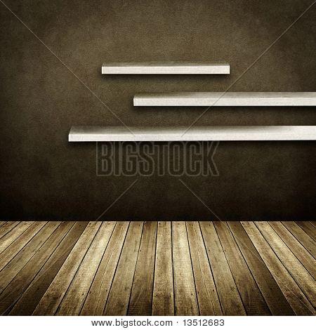 Wandregale auf Jahrgang Interieur