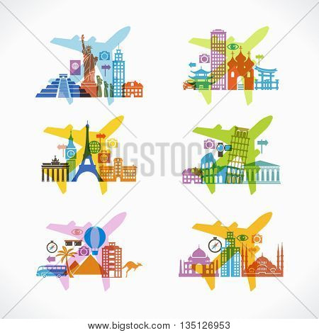 Travel and tourism background. Icon airplane surrounded by the landmark and travel icons. Travel to World. Trip to World. Road trip. Tourism. Landmarks on the globe. File is saved in 10 EPS version.