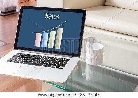 Sales chart on Laptop in a stylish house