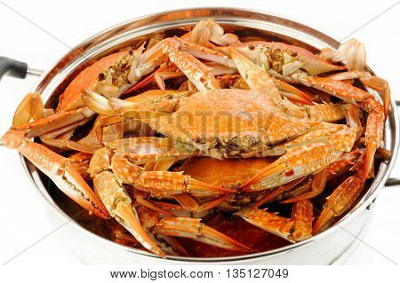 steamed crab seafood at in steaming pot