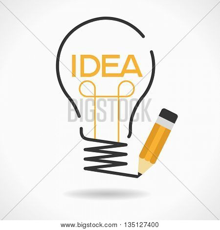 Best idea concept. Bulb and pencil. creative splash pencil and bulb. Design template. File is saved in 10 EPS version.