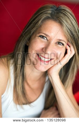 Attractive Adult Woman Leaning Face On Hand