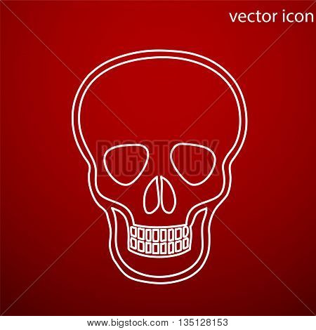 Skull icon vector and jpg. Flat style object. Art picture drawing. Eps 10. Web icons.