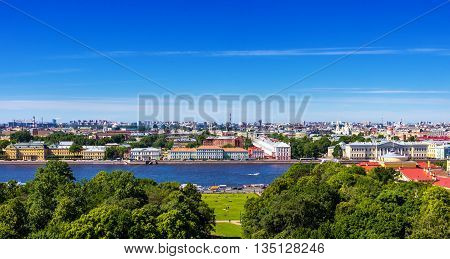 Panorama of Neva river and city park from Saint Isaac's Cathedral in the summer. St Petersburg. Russia.