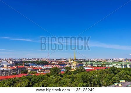 Panorama of Admiralty building and the Winter Palace from Saint Isaac's Cathedral in the summer. St Petersburg. Russia.