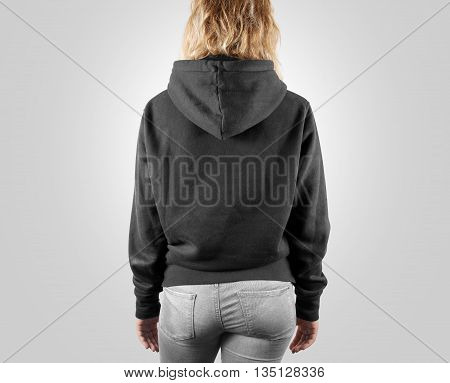 Blank black sweatshirt mock up back side view, isolated. Female wear grey plain hoodie mockup. Hoody design presentation. Clear loose model. Gray jumper backward. Man clothes sweat shirt sweater wear