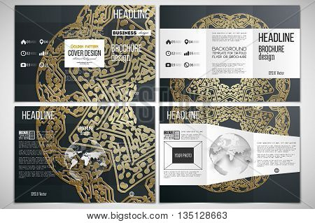 Vector set of tri-fold brochure design template on both sides with world globe element. Golden microchip pattern on dark background with connecting dots and lines, connection structure. Digital scientific vector