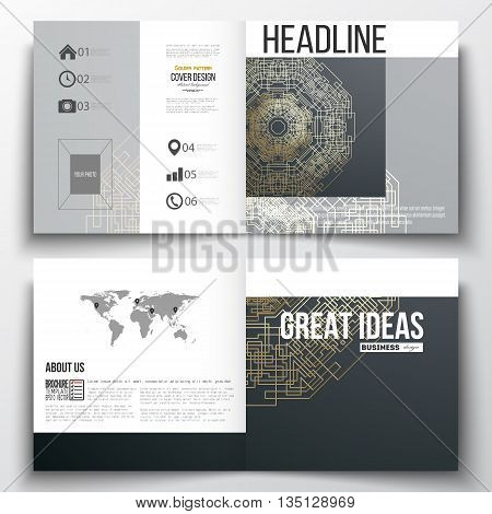 Set of square design brochure template. Round golden technology pattern on dark background, mandala template with connecting lines and dots, connection structure. Digital scientific vector