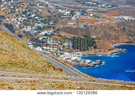 New Curvy Road Near Chora Sfakion Town On Crete, Greece