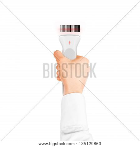 Hand holding qr code scanner isolated. Barcode scan technology equipment. Digitally code scanner device hold hand.