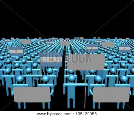 Crowd of people with signs and Argentinian flags 3d illustration