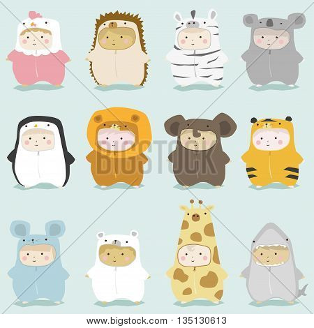 Set of kids in cute animal costumes  , vector , illustration