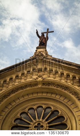 Religious figure and cross in buenos aires