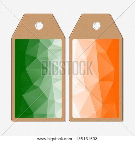 Tags design on both sides, cardboard sale labels. Background for Happy Indian Independence Day celebration with national flag colors, vector illustration.