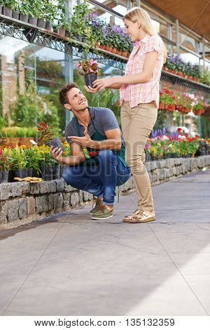 Smiling young woman buying flowers in a pot in a garden center