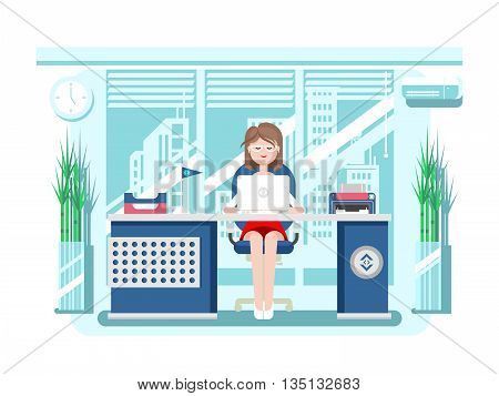 Secretary in office. Businesswoman person, worker woman, work and job, young female, flat vector illustration