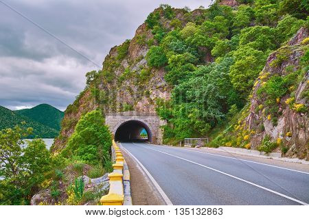 Road with Tunnel in the Mountains of Romania