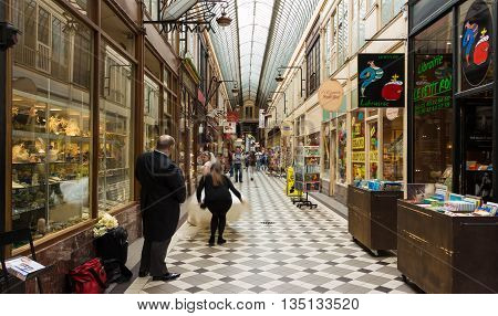 Paris France-June 182016 : The passage Jouffroy was built in 1836 it has been one of the most visited covered arcades situated on the Grands Boulevards in Paris France.