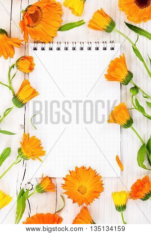 Notebook With Flowers Calendula On Wooden Background.