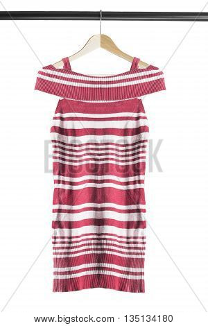 Red striped tunic on wooden clothes rack isolated over white