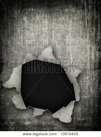 hole in grunge paper