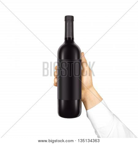 Blank black label mockup on black bottle of red wine in hand isolated. Alcohol bottle mock up presentation ready for logo design. Full drink bottle template with empty sticker. Clear tag vine bottle.