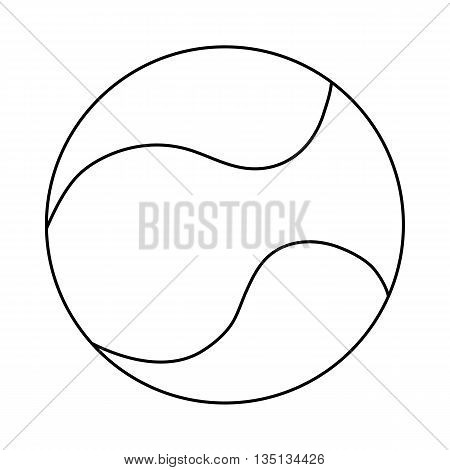 Tennis ball icon in outline style on a white background
