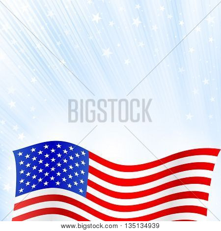Shiny American national flag waving for Fourth of July, Independence Day celebrations.