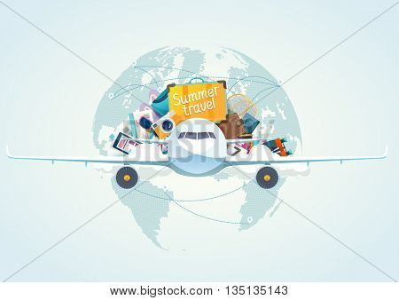 Summer travel illustration with airplane.