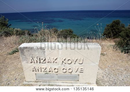 Anzac Cove in Gallipoli Peninsula, Dardanalles, Turkey.